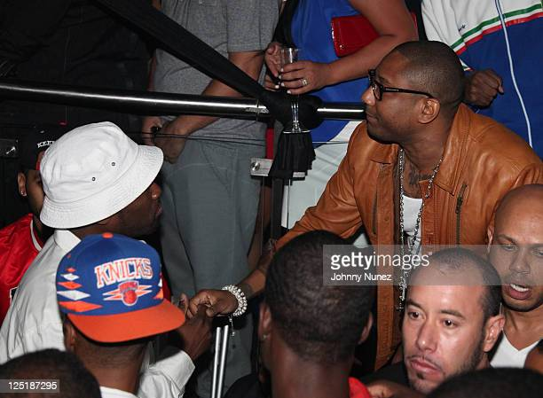 """Curtis """"50 Cent"""" Jackson and rapper Maino celebrate New Issue of Smooth Magazine at Amnesia NYC on September 15, 2011 in New York City."""
