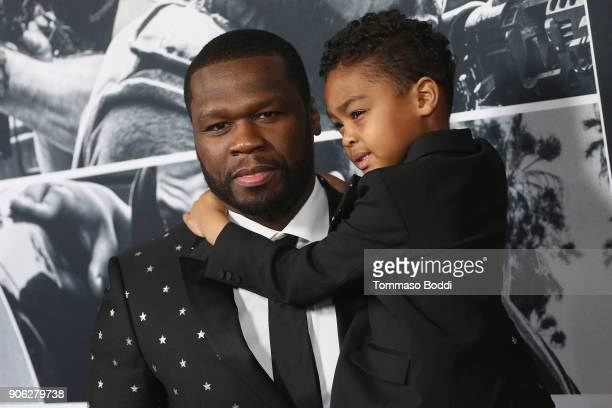 Curtis 50 CENT Jackson and Sire Jackson attend the Premiere Of STX Films' 'Den Of Thieves' at Regal LA Live Stadium 14 on January 17 2018 in Los...