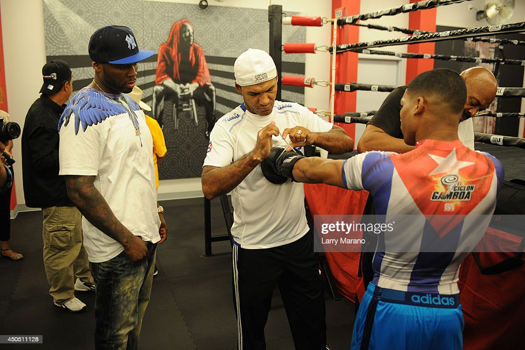 50 Cent Hosts Yuriorkis Gamboa Open Media Workout