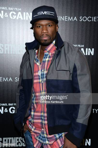 """Curtis """"50 Cent"""" Jackson attends the Cinema Society and Men's Fitness screening of """"Pain and Gain"""" at the Crosby Street Hotel on April 15, 2013 in..."""