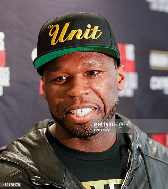 Curtis '50 Cent' Jackson Chairman and CEO of SMS Promotions talks to the media during a press conference for the May 9 2015 fight between Canelo...