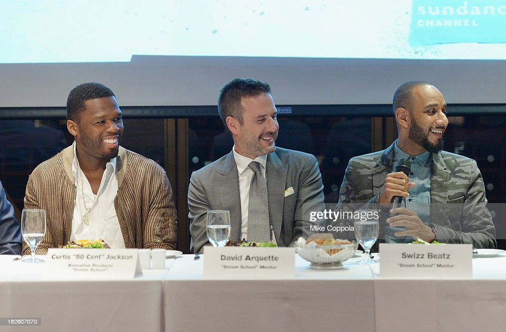 Curtis '50 Cent' Jackson, David Arquette, and Swizz Beatz speak on a Panel On Education In Anticipation Of Upcoming Series 'Dream School' on October 1, 2013 in New York City.