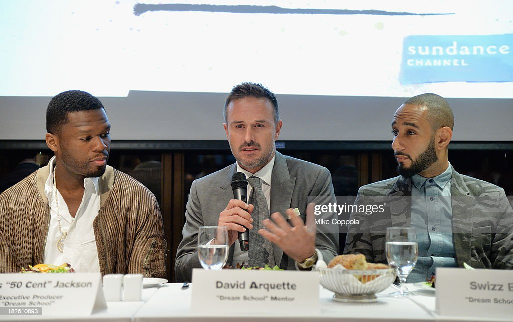 Curtis '50 Cent' Jackson, David Arquette, and Swizz Beatz speak on a panel on education in anticipation of the upcoming series 'Dream School' on October 1, 2013 in New York City.