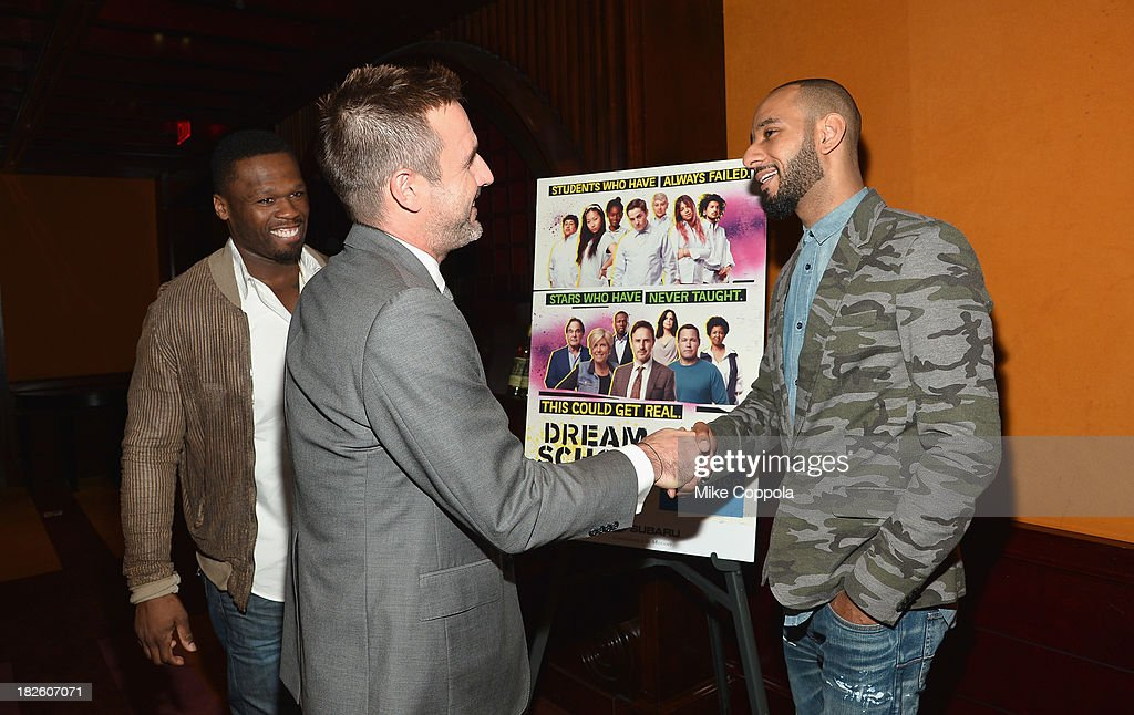 Curtis '50 Cent' Jackson, David Arquette, and Swizz Beatzpose for a picture before speaking on a Panel On Education In Anticipation Of Upcoming Series 'Dream School' on October 1, 2013 in New York City.