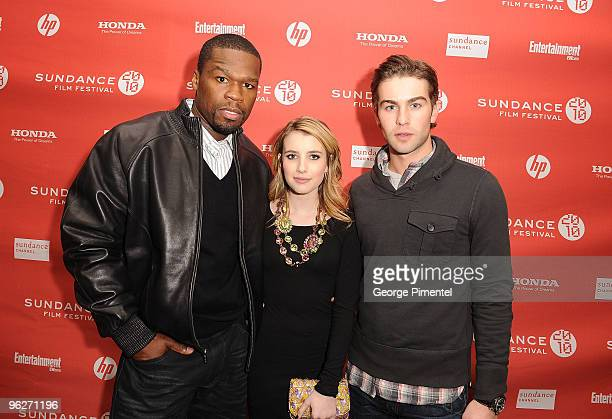 Curtis '50 Cent' Jackson Emma Roberts and Chase Crawford attend the 'Twelve' Premiere at the Eccles Theatre during the 2010 Sundance Film Festival on...