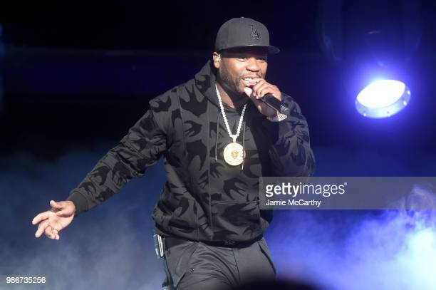 Curtis 50 cent Jackson performs onstage during the Starz Power The Fifth Season NYC Red Carpet Premiere Event After Party on June 28 2018 in New York...