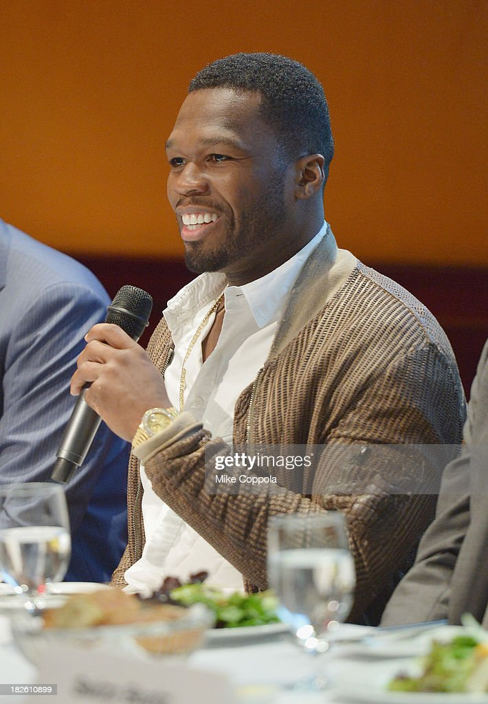 Curtis '50 Cent' Jackson speaks on a panel on education in anticipation of the upcoming series 'Dream School' on October 1, 2013 in New York City.