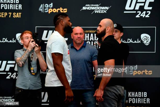 Curtis Blaydes and Shamil Abdurakhimov of Russia face off during the UFC 242 Ultimate Media Day at the Yas Hotel on September 5 2019 in Abu Dhabi...