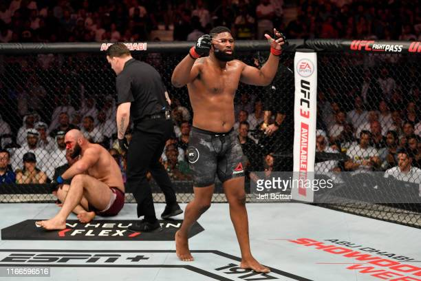 Curtis Blaydes celebrates his TKO victory over Shamil Abdurakhimov of Russia in their heavyweight bout during UFC 242 at The Arena on September 7...