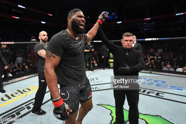 Curtis Blaydes celebrates his victory over Justin Willis in their heavyweight bout against Justin Willis during the UFC Fight Night event at...