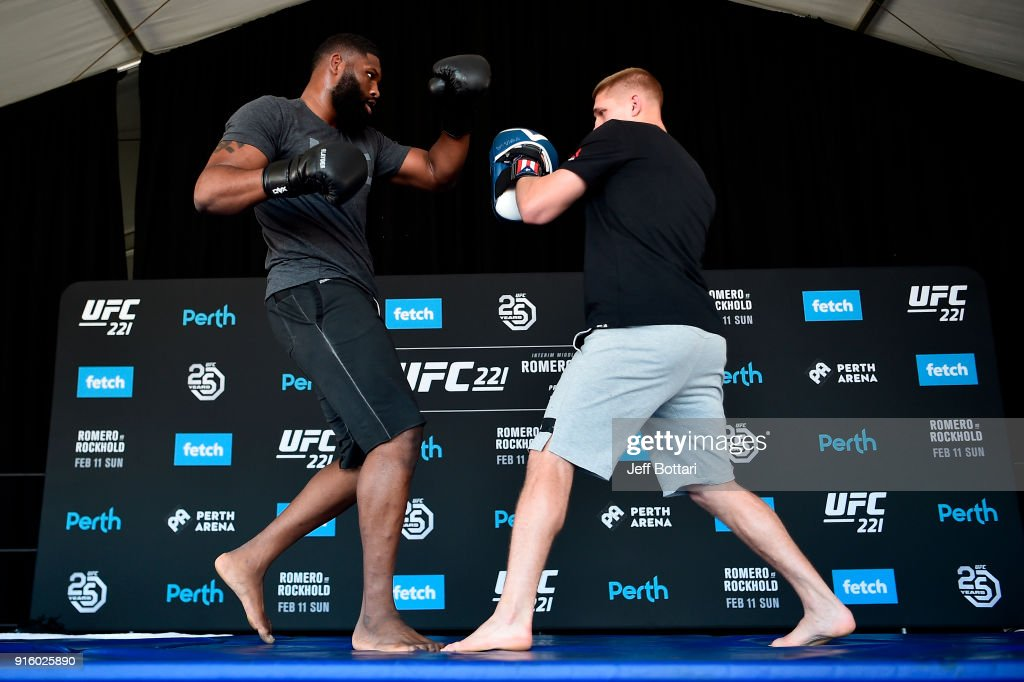 Curtis Blaydes holds an open workout for fans and media during the UFC 221 Open Workouts at Elizabeth Quay on February 9, 2018 in Perth, Australia.