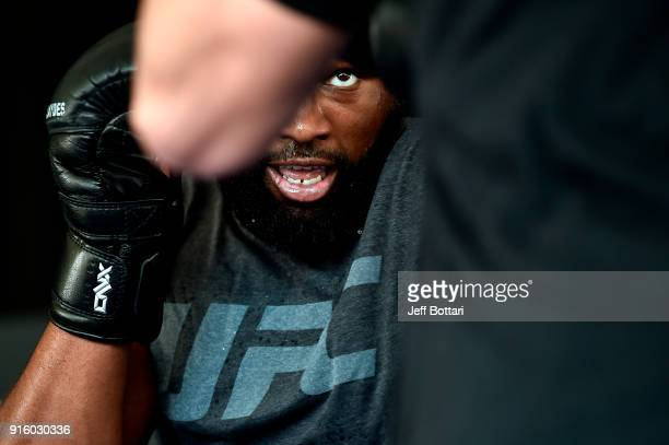 Curtis Blaydes holds an open workout for fans and media during the UFC 221 Open Workouts at Elizabeth Quay on February 9 2018 in Perth Australia