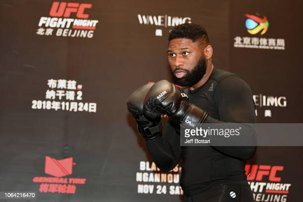 Curtis Blaydes interacts with media during the UFC Fight Night Ultimate Media Day on November 22 2018 in Beijing China