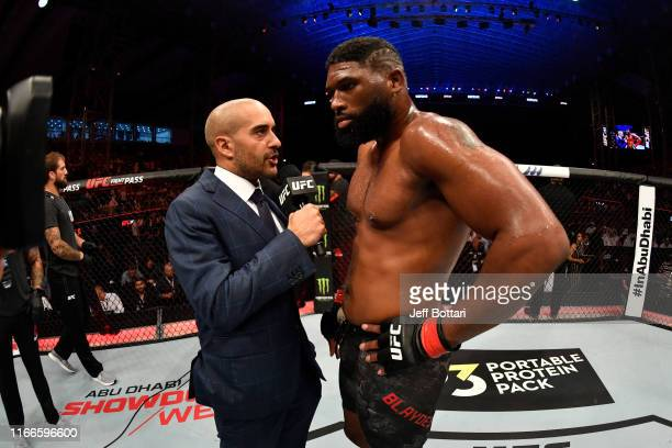 Curtis Blaydes is interviewed by Jon Anik after his TKO victory over Shamil Abdurakhimov of Russia in their heavyweight bout during UFC 242 at The...