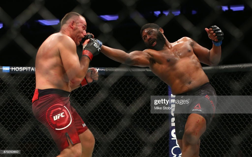 Curtis Blaydes lands a punch against Aleksei Oleinik of Russia in their heavyweight bout during the UFC 217 event at Madison Square Garden on November 4, 2017 in New York City.