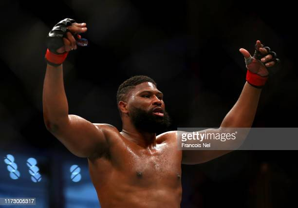 Curtis Blaydes of United States celebrates victory over Shamil Abdurakhimov of Russia during the UFC 242 event at The Arena on September 07 2019 in...
