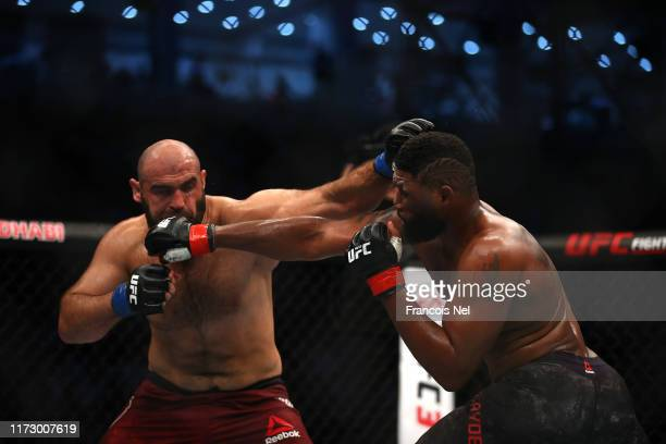 Curtis Blaydes of United States compete against Shamil Abdurakhimov of Russia in their Heavyweight Bout during the UFC 242 event at The Arena on...