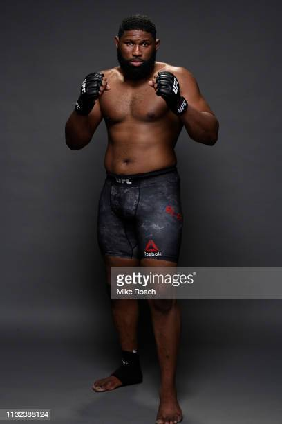 Curtis Blaydes poses for a portrait backstage during the UFC Fight Night event at Bridgestone Arena on March 23 2019 in Nashville Tennessee
