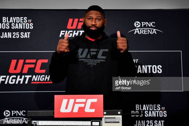 Curtis Blaydes poses on the scale during the UFC Fight Night weighins at the Embassy Suites Raleigh Crabtree on January 24 2020 in Raleigh North...