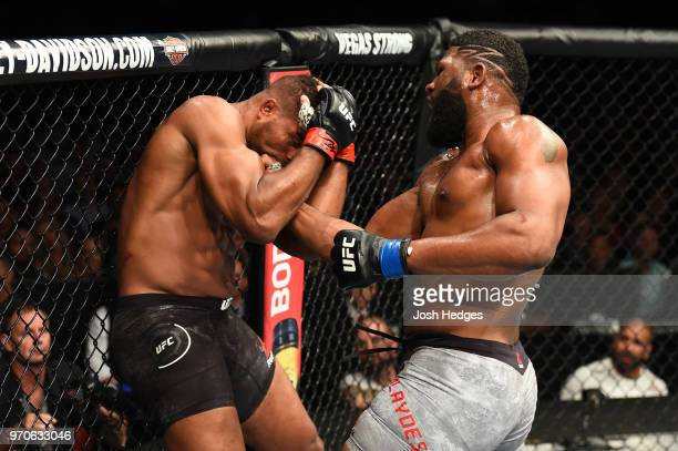 Curtis Blaydes punches Alistair Overeem in their heavyweight fight during the UFC 225 event at the United Center on June 9 2018 in Chicago Illinois