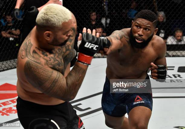 Curtis Blaydes punches Mark Hunt of New Zealand in their heavyweight bout during the UFC 221 event at Perth Arena on February 11 2018 in Perth...