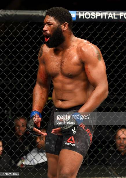 Curtis Blaydes reacts after defeating Aleksei Oleinik of Russia in their heavyweight bout during the UFC 217 event at Madison Square Garden on...