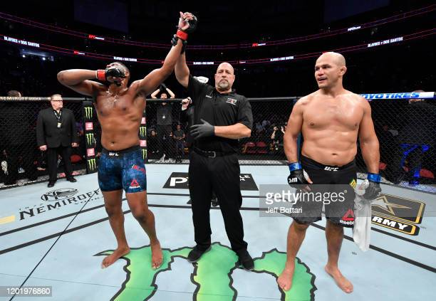Curtis Blaydes reacts after his knockout victory over Junior Dos Santos in their heavyweight fight during the UFC Fight Night event at PNC Arena on...