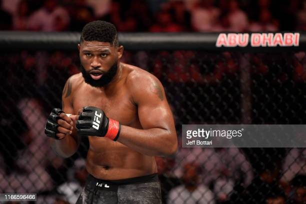 Curtis Blaydes stands in his corner between rounds of his heavyweight bout against Shamil Abdurakhimov of Russia during UFC 242 at The Arena on...