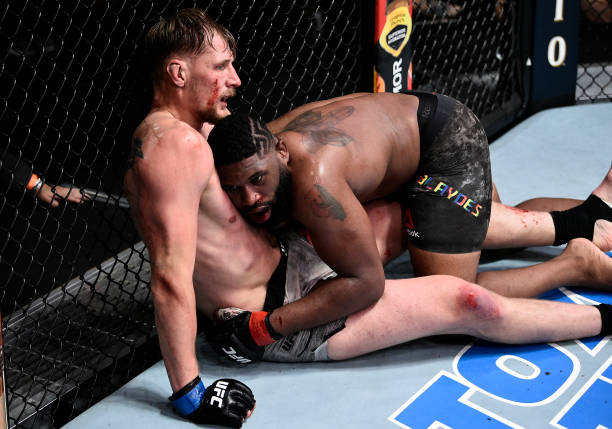 Curtis Blaydes takes down Alexander Volkov of Russia in their heavyweight bout during the UFC Fight Night event at UFC APEX on June 20, 2020 in Las...