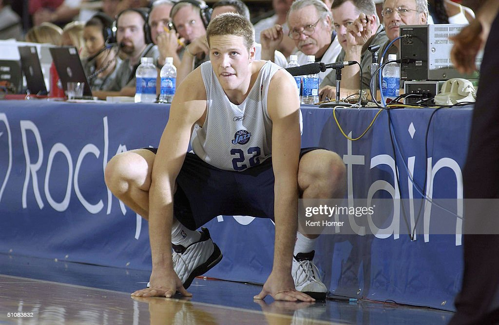 Curtis Borchardt of the Utah Jazz waits to get back into the game ... cf81b8d71