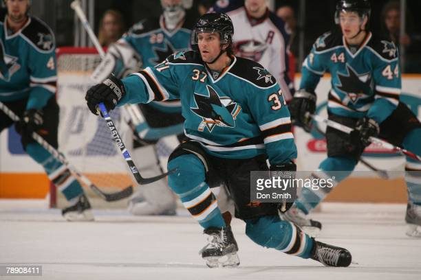 Curtis Brown of the San Jose Sharks attempts to block a shot on the ice during an NHL game against the Columbus Blue Jackets on January 5 2008 at HP...
