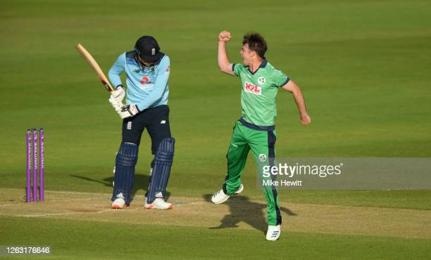 Curtis Campher of Ireland celebrates after taking the wicket of Tom Banton of England during the Second One Day International between England and...