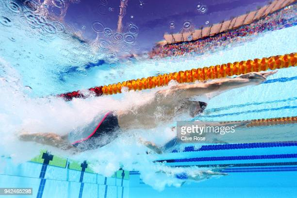 Curtis Coulter of Northern Ireland competes during the Men's 4 x 100m Freestyle Relay Heat 1 on day two of the Gold Coast 2018 Commonwealth Games at...