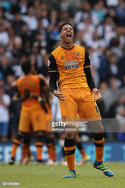 DERBY ENGLAND MAY 14 Curtis Davies of Hull City celebrates after an own goal to make it 02 during the Sky Bet Championship Play Off First Leg match...