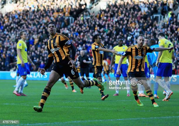 Curtis Davies of Hull City celebrates as he scores their first goal during the Barclays Premier League match between Hull City and Newcastle United...