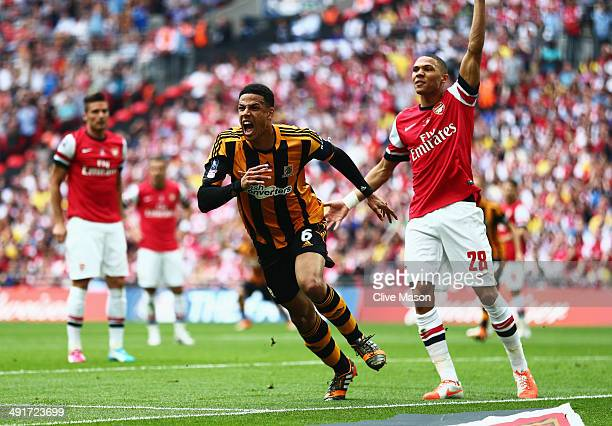 Curtis Davies of Hull City celebrates as he scores their second goal during the FA Cup with Budweiser Final match between Arsenal and Hull City at...
