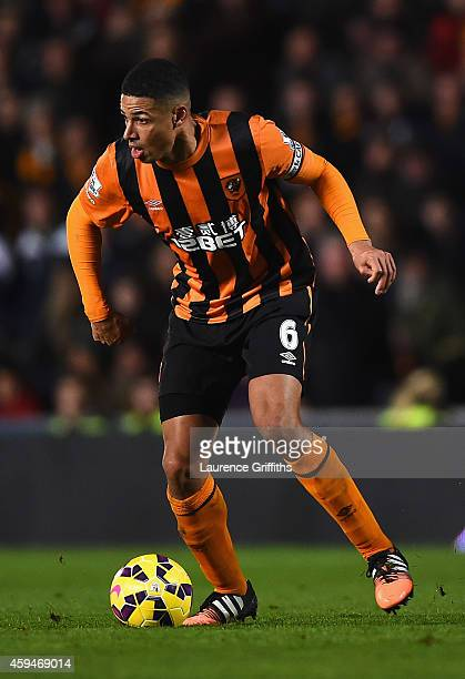 Curtis Davies of Hull City in action during the Barclays Premier League match between Hull City and Tottenham Hotspur at KC Stadium on November 23...