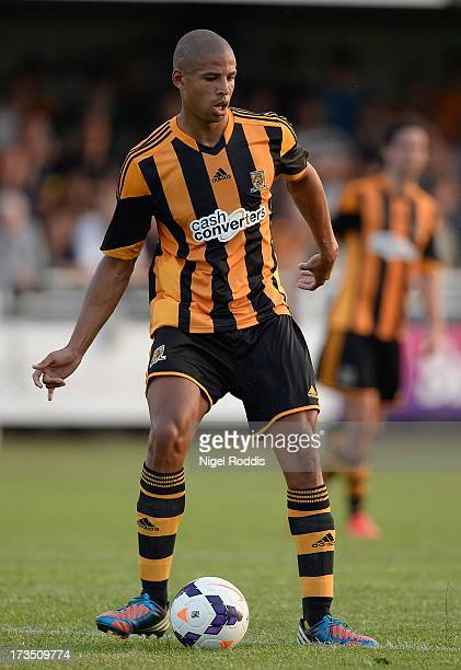 Curtis Davies of Hull City plays the ball during a preseason friendly between North Ferriby and Hull City at the Eon Visual Media Stadium on July 15...
