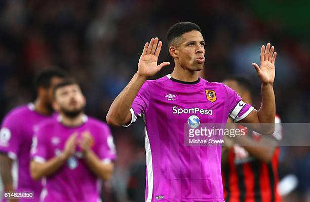 Curtis Davies of Hull City reacts after the Premier League match between AFC Bournemouth and Hull City at Vitality Stadium on October 15 2016 in...