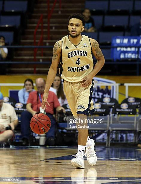 Curtis Diamond of the Georgia Southern Eagles dribbles the ball during the Sun Belt Conference Men's Championship game at the UNO Lakefront Arena on...