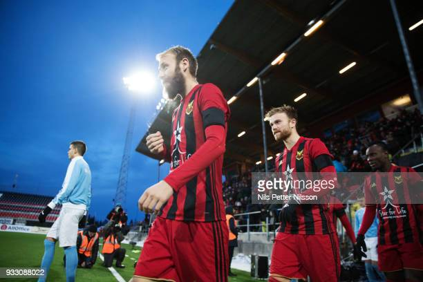 Curtis Edwards of Ostersunds FK ahead of the Swedish Cup Semifinal between Ostersunds FK and Malmo FF at Jamtkraft Arena on March 17 2018 in...