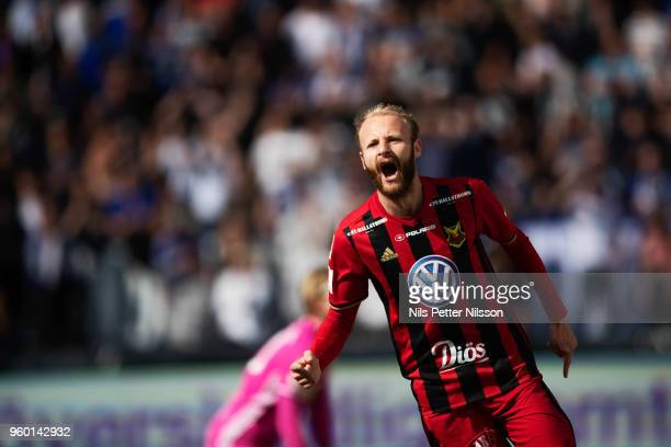 Curtis Edwards of Ostersunds FK celebrates after scoring to 02 during the Allsvenskan match between GIF Sundsvall and Ostersunds FK at Idrottsparken...