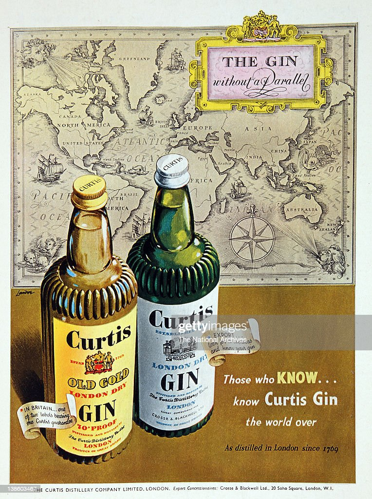 Curtis Gin. Advertisment with marketing slogan. 'Thos who know.. know Curtis Gin the world over'