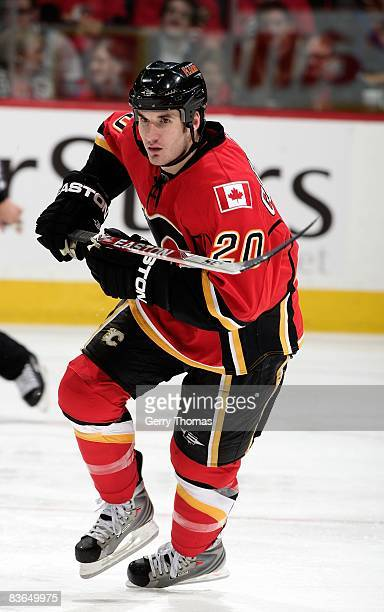 Curtis Glencross of the Calgary Flames skates against the Nashville Predators on November 6 2008 at Pengrowth Saddledome in Calgary Alberta Canada...