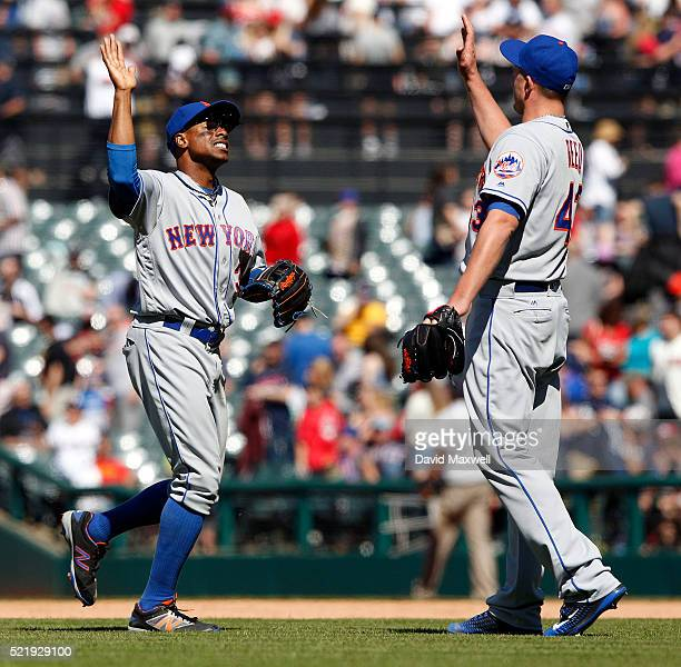 Curtis Granderson and Addison Reed of the New York Mets celebrate after winning the game against the Cleveland Indians at Progressive Field on April...