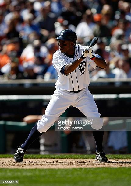 Curtis Granderson of the Detroit Tigers bats against the Toronto Blue Jays during the Home Opener for the Detroit Tigers at Comerica Park on April 2...