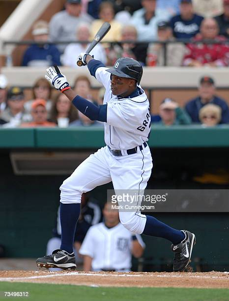 Curtis Granderson of the Detroit Tigers bats during the game against the Cleveland Indians at Joker Marchant Stadium in Lakeland Florida on March 3...