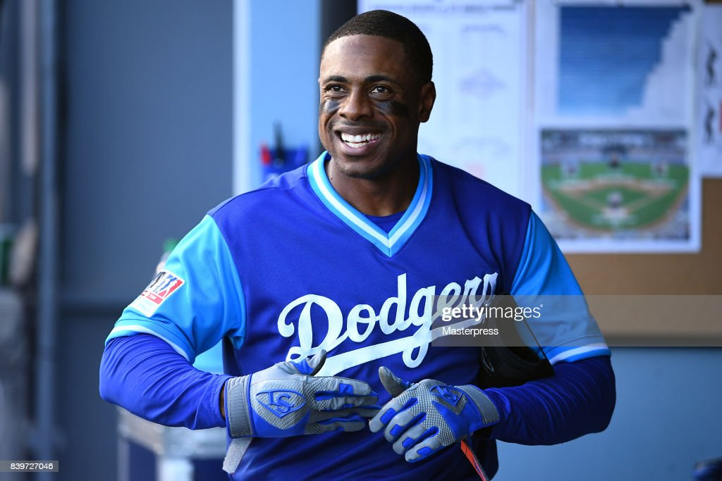 Curtis Granderson #6 of the Los Angeles Dodgers smiles during the game against the Milwaukee Brewers at Dodger Stadium on August 26, 2017 in Los Angeles, California.