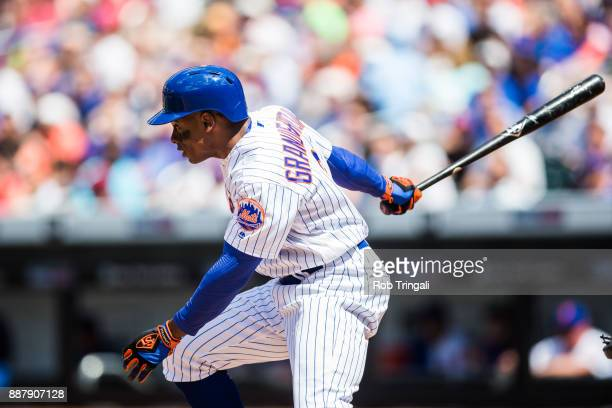 Curtis Granderson of the New York Mets bats during the game against the Milwaukee Brewers at Citi Field on Thursday June 1 2017 in the Queens borough...