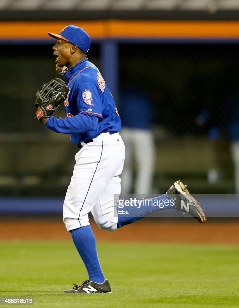 Curtis Granderson of the New York Mets celebrates his catch for the final out of the game against the St Louis Cardinals on April 23 2014 at Citi...